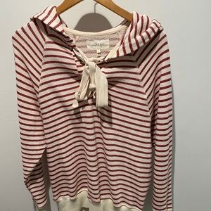 The Tie Hoodie red and white striped